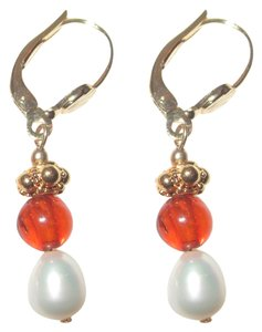 Museum Reproductions New Russian Baltic Amber Pearl GP Earrings Museum Reproductions Boston Pierced