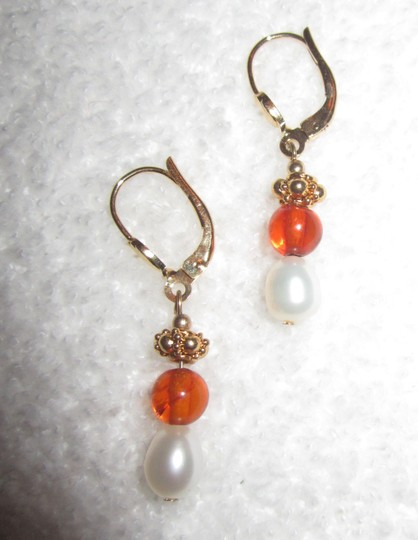 Museum Reproductions New Russian Baltic Amber Pearl GP Earrings Museum Reproductions Boston