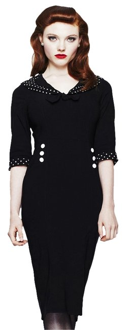 Item - Thelma Black White Polka Dot Pencil Mid-length Night Out Dress Size 6 (S)
