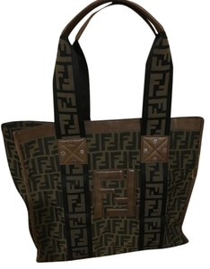 Fendi Monogram Canvas Vintage Logo Tote in Brown