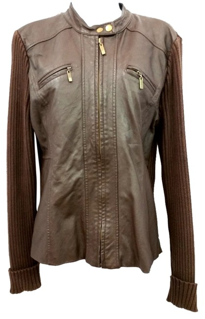 Preload https://item4.tradesy.com/images/style-and-co-brown-and-and-knit-leather-jacket-size-12-l-10486798-0-2.jpg?width=400&height=650
