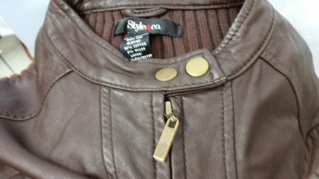 Style & Co Knit BROWN Leather Jacket