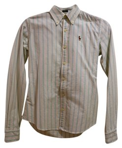Ralph Lauren Button Down Shirt Light Blue and White Stripes