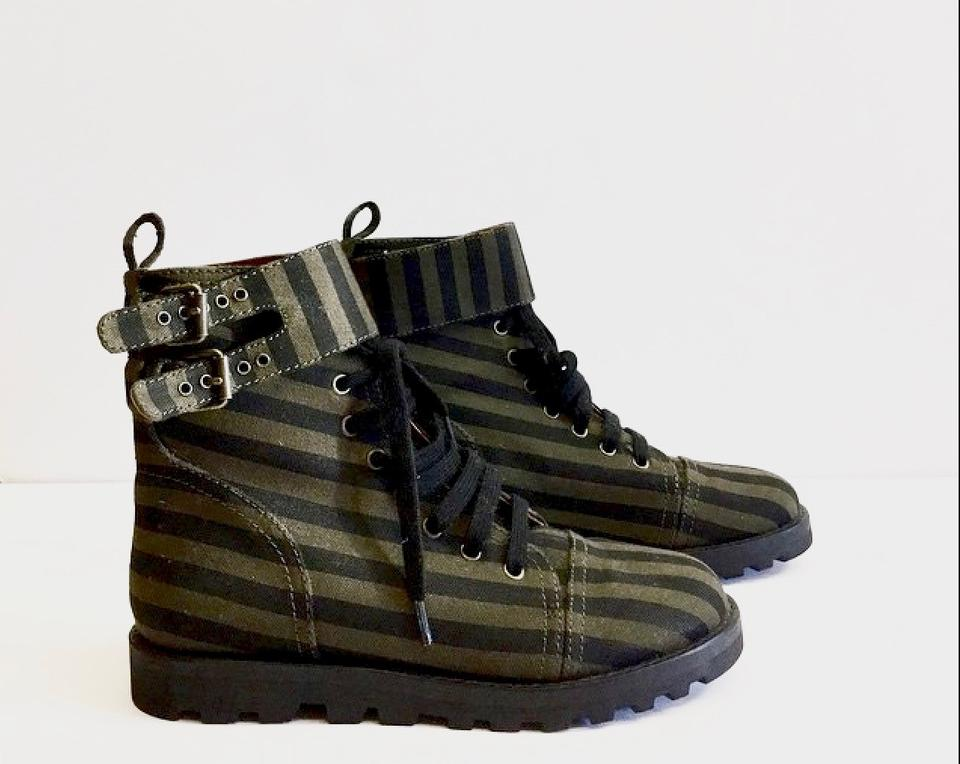 e9879cecdd1 Marc by Marc Jacobs Khaki Green Striped Combat Boots/Booties Size US 8  Regular (M, B) 65% off retail