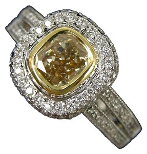 Kitaan 1.01 Carat Cushion Cut Fancy Yellow Diamond Ring in 18 Karat Gold
