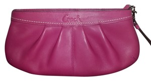 Coach Oversized Leather Nighbag Pink Clutch