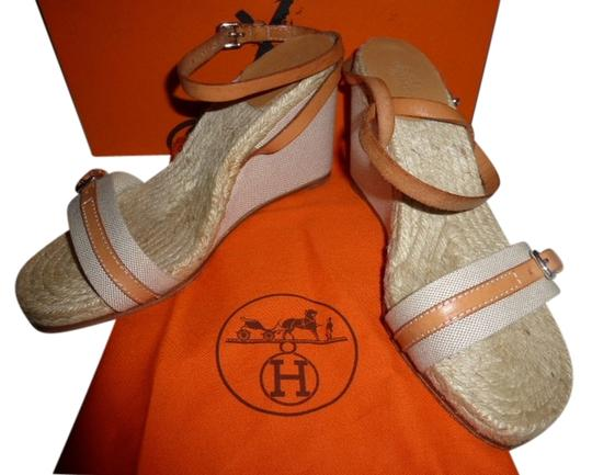 Hermès light brown leather espadrille fabric Mules