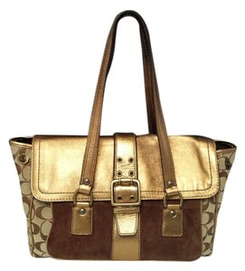 Coach 1498 Brown Suede Gold Metallic Foil Monogram Jacquard Shoulder Bag