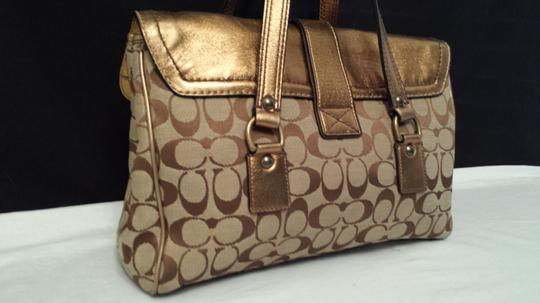 Coach 1498 Suede Metallic Foil Monogram Jacquard Shoulder Bag