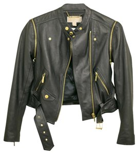 Michael Kors Leather Fitted Dark Navy Leather Jacket