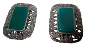 Large Vintage Marcasite & Green Onyx Sterling Silver Clip Earrings Art Deco --Stunning!