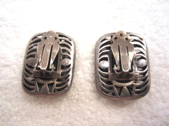 Other Large Vintage Marcasite & Green Onyx Sterling Silver Clip Earrings Art Deco --Stunning!