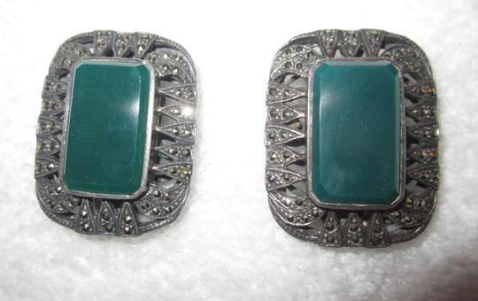 Other Vintage Marcasite & Green Onyx Sterling Silver Clip Earrings Art Deco