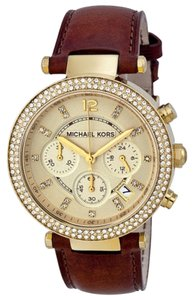 Michael Kors Brown Leather Strap Crystal Pave Gold Tone Ladies Watch