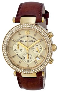 Michael Kors Crystal Bezel Browl Leather Strap Champagne Dial Ladies Watch