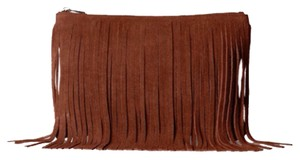 Possé Leather Fringe Hem Suede Brown Clutch