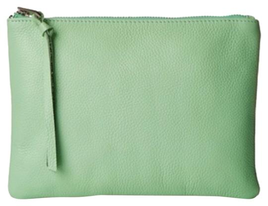 Possé Leather Pebbled Green Clutch