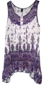 Fang Summer Flowing Easy Fit Top purples hanky hem