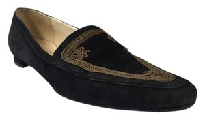 Christian Louboutin Embroidered Suede Smoking Slipper Black Flats