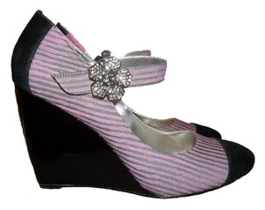 Beverly Feldman Wedge Pink & Silver Wedges
