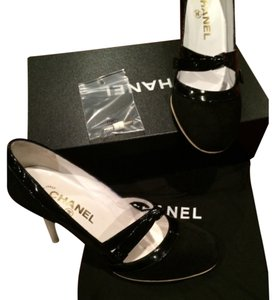 Chanel Black & White Suede & Patent Leather Pumps