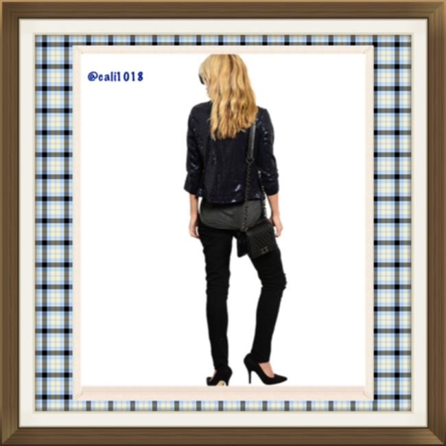 Other Collared Sequin Cropped Lapel Junior Navy Blazer
