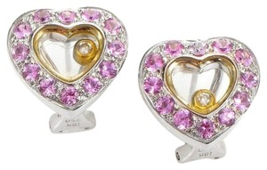 18K White & Yellow Gold Pink Sapphire Diamond Heart Earrings 18K White & Yellow Gold Pink Sapphire Diamond Heart Earrings