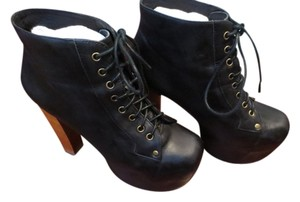 Jeffrey Campbell The Lita Lita Jc's Jc Girl Chunky Heel Leather Leather Ultra High Heel Black Boots