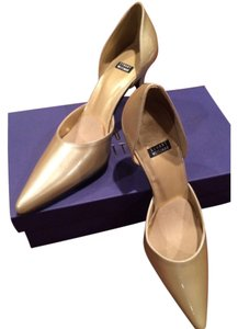 Stuart Weitzman Gold Patent Leather Pumps