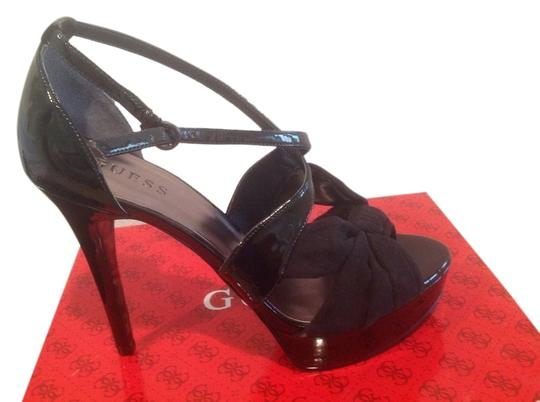 Guess Textile Patent Upper Leopard Pattern Black Platforms