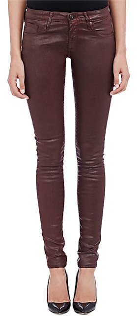 Item - Burgundy Coated The Legging Super Skinny Jeans Size 28 (4, S)
