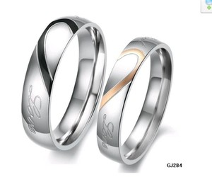 Black/Silver & Rose Gold/Silver 1/2 Heart Matching Ring Free Shipping Jewelry Set