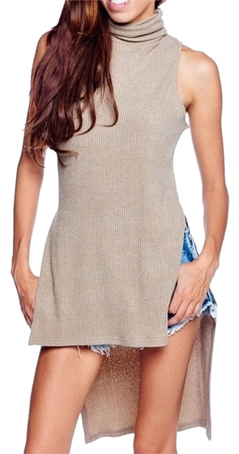 Preload https://item2.tradesy.com/images/taupe-sleeveless-knit-turtleneck-sweater-tunic-size-8-m-10491586-0-1.jpg?width=400&height=650