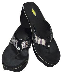 Volatile Sequined Sandals Bling Black/silver Wedges