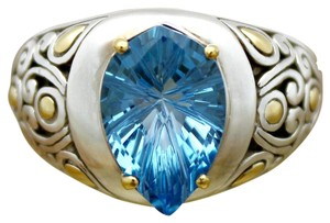 John Hardy John Hardy 18Kt Gold & Sterling Silver Ring With Large 14mm Blue Topaz