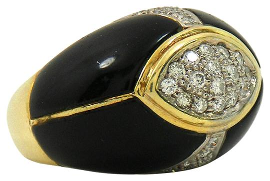 Vintage 1960's Vintage Onyx and Diamond yellow Gold Ring