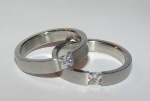 Valentine's Day Sale His & Hers Matching Steel Wedding Bands Free Shipping