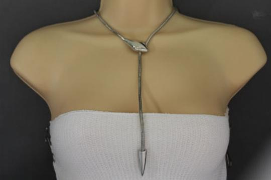 Other Women Silver Necklace Skinny Metal Chain Long Snake Pendant Fashion Jewelry
