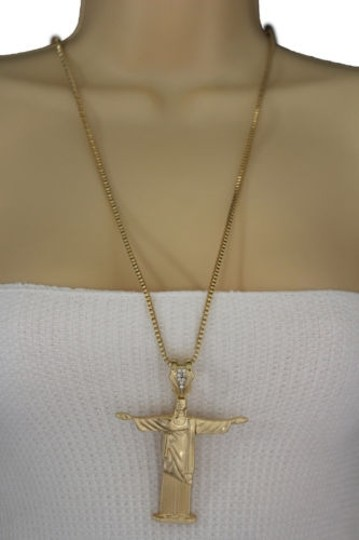 Other Women Gold Necklace Metal Cross Jesus Christ Redeemer Pendant Fashion Jewelry