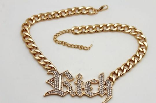 Other Women Gold Necklace Metal Chain Rich Pendant Silver Rhinestones Fashion Jewelry
