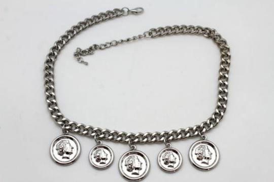 Other Women Silver Necklace Metal Chain Multi Lady Coin Charms Pendant Fashion Jewelry
