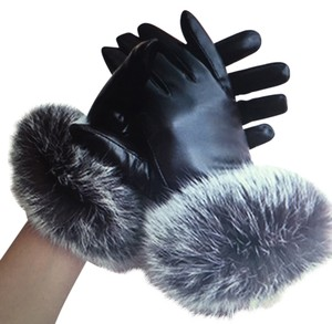 Leather & fur BLACK LAMBSKIN GLOVES WITH REAL RABBIT TRIM