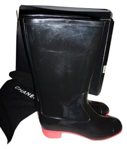 Chanel BLACK RAIN BOOTS W/ HOT PINK HEEELS Boots