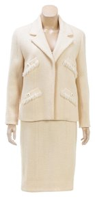 Chanel Chanel Boutique Cream Tweed Knit Jacket and Dress Set (Size 40)