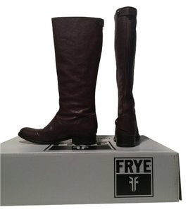 Frye Melissa Button Back Zip Brown Leather Knee High Dark Brown Boots
