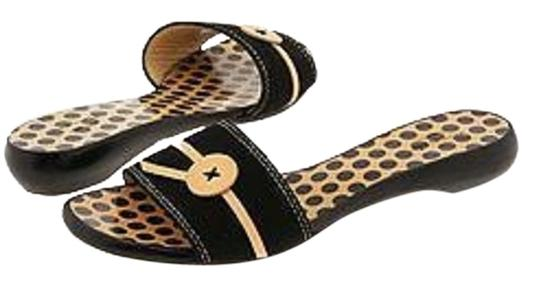 Preload https://item1.tradesy.com/images/kate-spade-black-new-york-toby-tan-polka-dot-canvas-leather-button-slide-flat-m-sandals-size-us-7-re-10492900-0-3.jpg?width=440&height=440