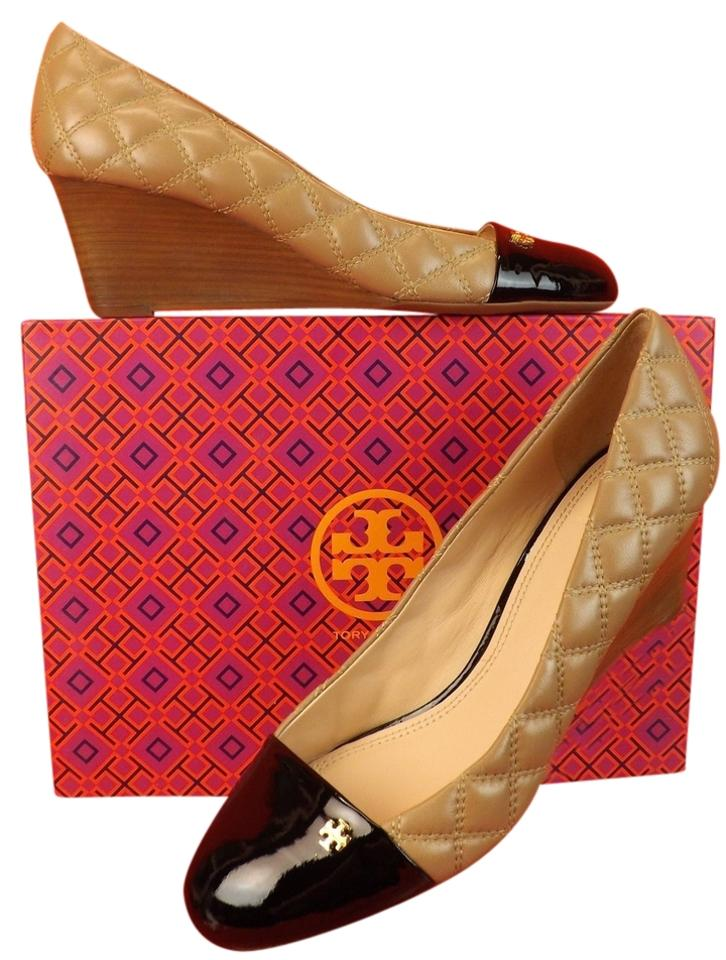 33a6994d39d Tory Burch Beige Claremont Quilted Leather Cap Toe Gold Reva Wedges ...