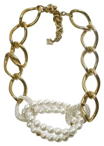 Swarovski SWAROVSKI Donatella Faux Pearl Gold Chunky Chain Necklace