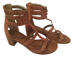 b2dccc2a1 Sam Edelman Gladiator Leather Studded Chunky Brown Sandals