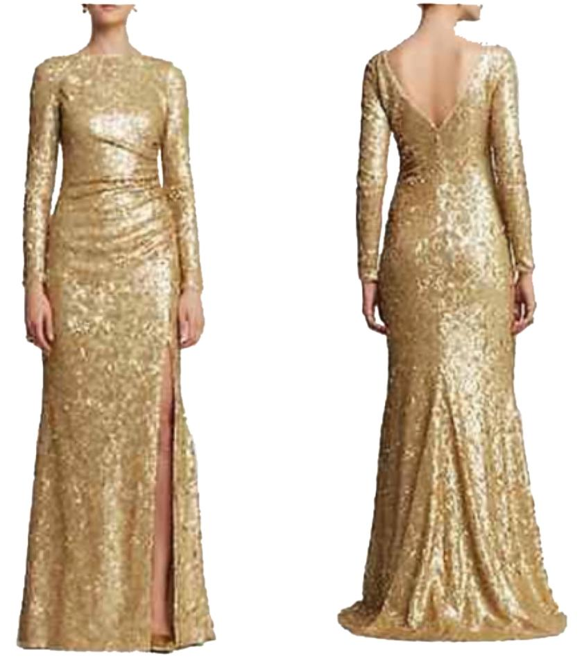 Badgley Mischka Gold Sequin Gown Long Formal Dress Size 0 (XS) - Tradesy
